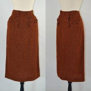 1960s Orange, Brown & Yellow Flecked Tweed Skirt